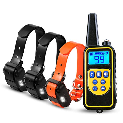 Dog Training Collar Shock Collars with Remote 875 Yards, Waterproof Rechargable Activated Anti Bark Collar with Beep Vibration Static Shock for Medium Large Dogs