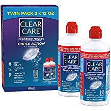 Clear Care Cleaning & Disinfecting Solution with Lens Case, Twin Pack, 12-Ounces...