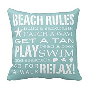 JeremyArtStore 18 x 18 Inches Decorative Cotton Linen Square Throw Pillow Case Cushion Cover Beach Rules Design