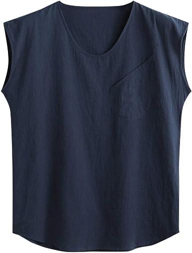 Winkey - Camiseta sin Mangas de algodón y Lino, Cuello Redondo, con Bolsillo, para Hombre: Amazon.es: Ropa y accesorios