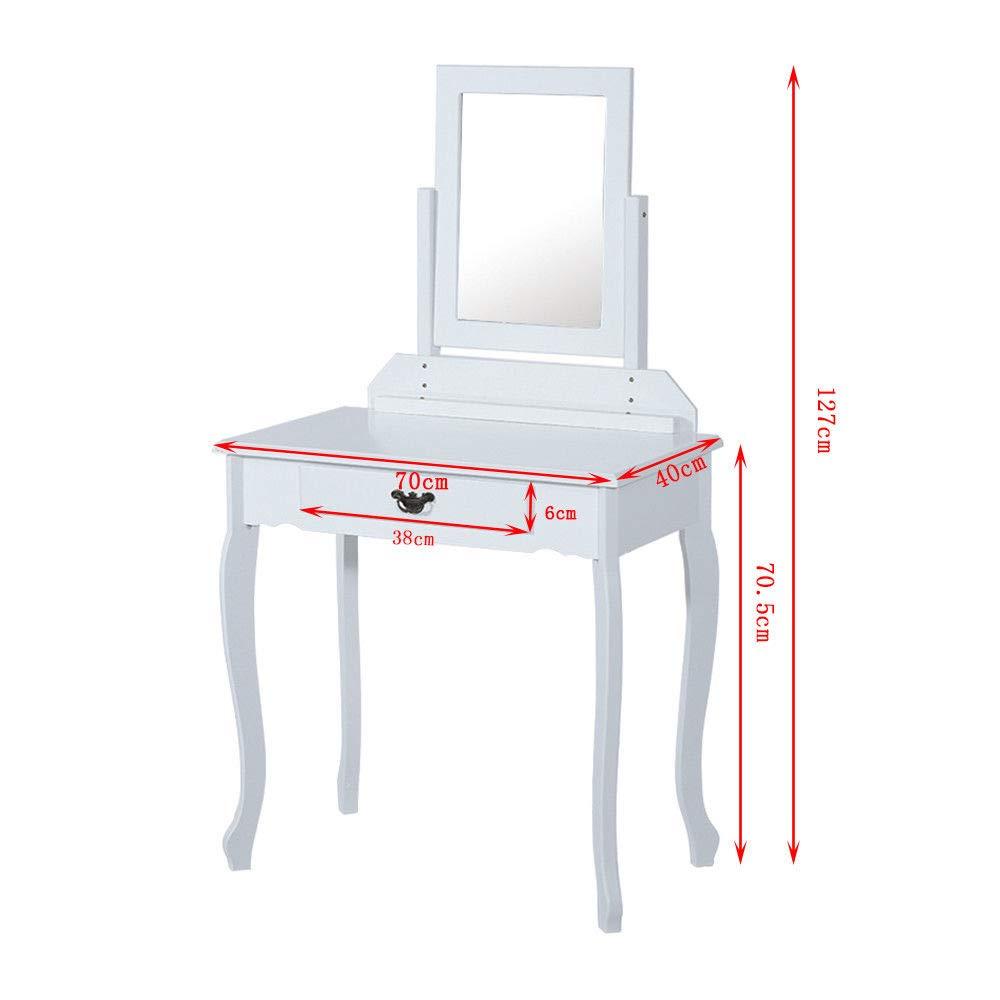 Generic H Stoo avec Tabouret Style WHI Coiffeuse L EL /él/égant tiroir /él/égant Style r/étro Blanc /à Desk Miroir Table de Maquillage