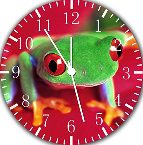 - Borderless Cute Green Frog Frameless Wall Clock E102 Nice for Decor Or Gifts