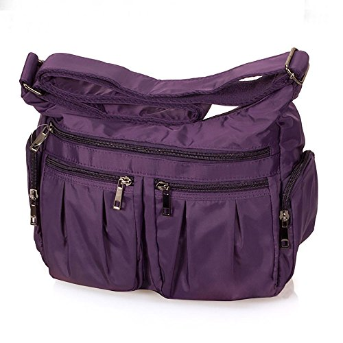 Volcanic Rock Shoulder Bag Corss-body Purse Waterproof Nylon Handbags with Zipper for Women(8981_Purple) by Volcanic Rock