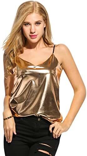 Romanstii Women's Shiny Metallic Liquid Wet Look Vest Top Camisole