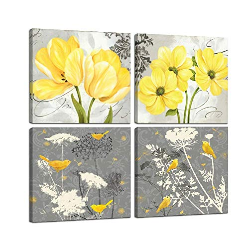 Wall Art Yellow and Gray Grey Flowers Birds Abstract Print Canvas Home Decor Decals Pictures 4 Panels Poster for Bedroom Living Room Office Painting Photo Framed Ready to Hang (12