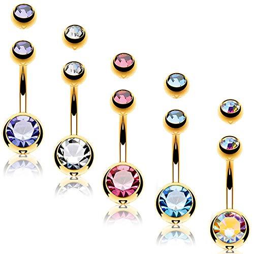 (BodyJ4You 5PC Belly Button Rings 14G Goldtone Steel Double CZ Navel Banana Girl Women Jewelry Set)