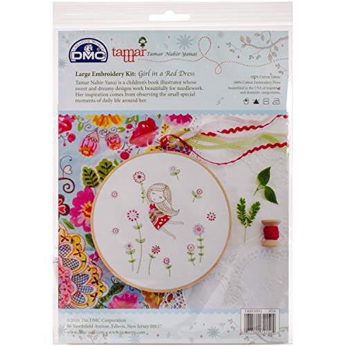 DMC Tamar Embroidery Kit Lg Girl in Red Dress TamarEmbrdryKitLgGirlInRdDress -