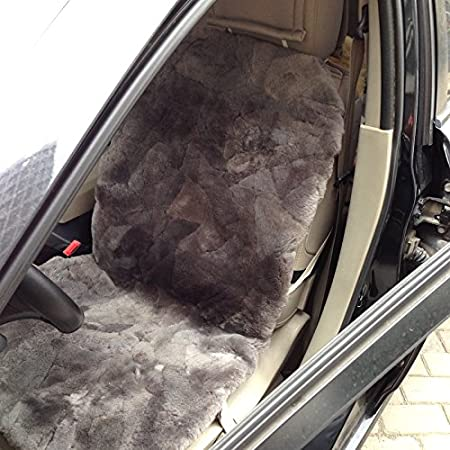 Short Wool Car 1 Front Seat Covers Set Winter Warm Universal DUMI Patch Work Real Australian Sheepskin Sideless Seat Covers Black