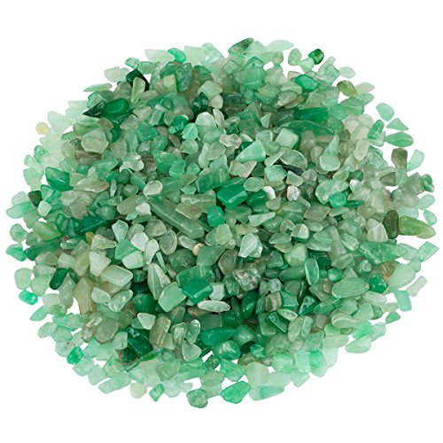 SUNYIK Green Aveturine Tumbled Chips Stone Crushed Crystal Quartz Pieces Irregular Shaped Stones 1pound(about 460 gram) Green Aventurine Crystal