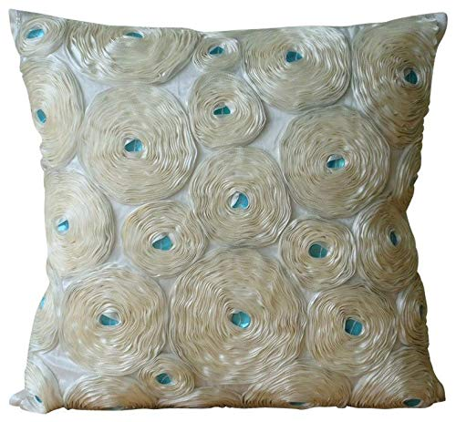 The HomeCentric Designer Ivory Decorative Toss Pillow Covers 16x16 inch, Silk Pillowcasewith Zipper, Nature & Floral, Ribbon Embroidery, Modern Cushion Coverfor Sofa - Ivory Roses