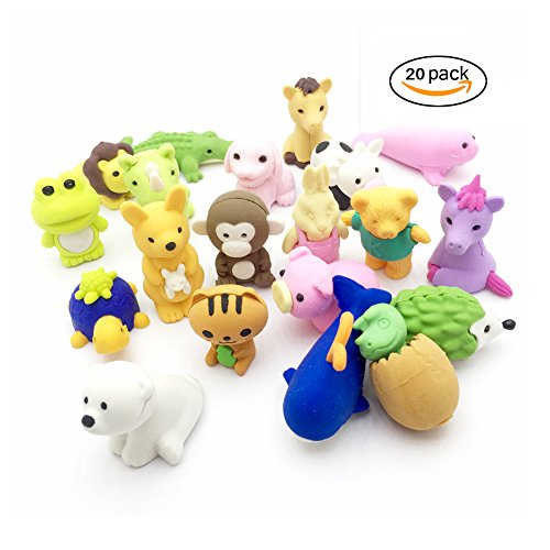 Jialeey Set of 20 Puzzle Take Apart Erasers Zoo Animals Collectible Pencil Eraser Toys Variety with No Duplicates Fun and Games for Ages 3 and Up Kid Boy Girl Gift (Cute Cheap Halloween Food Ideas)