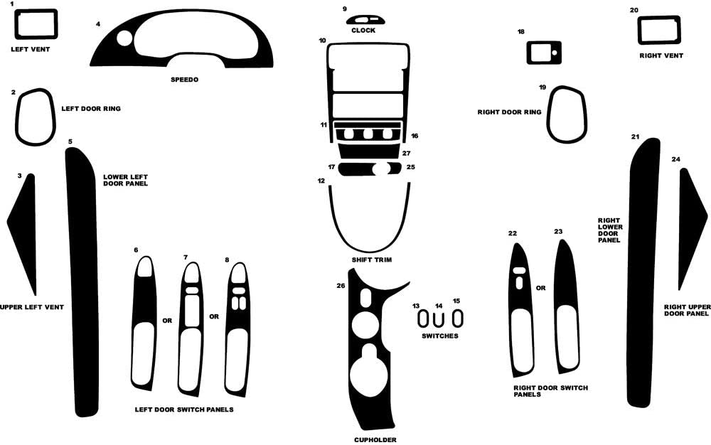 Rvinyl Rdash Dash Kit Decal Trim for Ford Mustang 2001-2004 - Carbon Fiber 4D (Black)