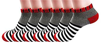 SilkWorld Women's Cotton 6 Pack Sport Crew Terry Socks Gray