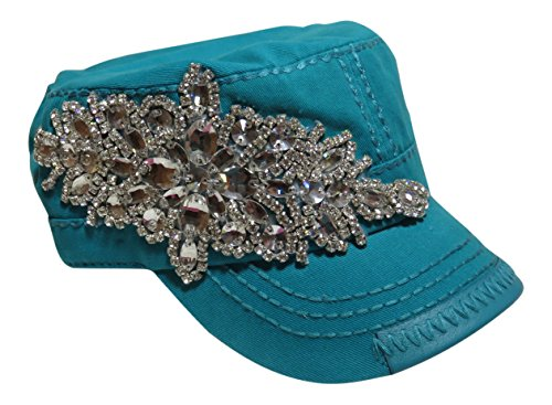 (Rhinestone Large Motif Design Cadet Cap Hat Headwear Military)