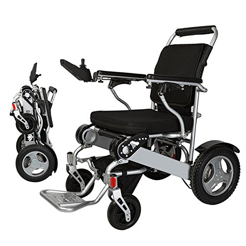 "Bangeran Electric Wheelchair Folding Lightweight 50 lbs with Batteries Heavy Duty Supports 360 lbs Aircraft Grade Aluminum Alloy Frame More Strength,12"" Rigid Rubber Tyre Rear Wheels More Stable"