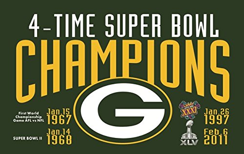 (RongJ- store NFL Green Bay Packers 4 Time Super Bowl 3' x 5' Champions Flag)