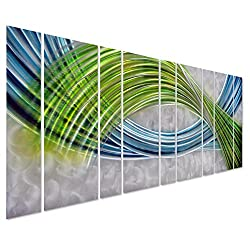 """Pure Art Abstract Color Warp Metal Wall Art, Oversized Scale Metal Wall Decor in Abstract Blue-Green Swirls, 9-Panels Measure 86"""" x 32"""", 3D Wall Art for Modern and Contemporary Decor"""
