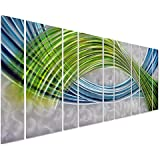 Abstract Color Warp - Oversized Modern Metal Wall Art Decor - Green Blue Artwork of 9 Panels for Kitchen or Bedroom...