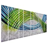 "Pure Art Abstract Color Warp Metal Wall Art, Oversized Scale Metal Wall Decor in Abstract Blue-Green Swirls, 9-Panels Measure 86"" x 32"", 3D Wall Art for Modern and Contemporary Decor"