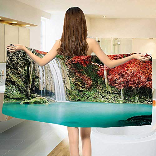 """Waterfall,Bath Towel,Nature Single Waterfall in Corner of The Deep Forest with Fair Fall Oak Trees,Customized Bath Towels,Red and Blue Size: W 19.5"""" x L 39.5"""""""