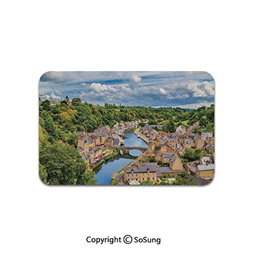 Wanderlust Decor Area Rug,Dramatic Clouds Over Ancient Town of Dinan Rance River Northwestern France Landscape Forest,for Living Room Bedroom Dining Room,7'x ()