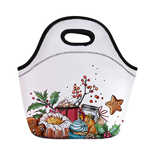 Semtomn Neoprene Lunch Tote Bag Christmas Plants Line Drawn on Sketch of Berries Reusable Cooler Bags Insulated Thermal Picnic Handbag for Travel,School,Outdoors,Work