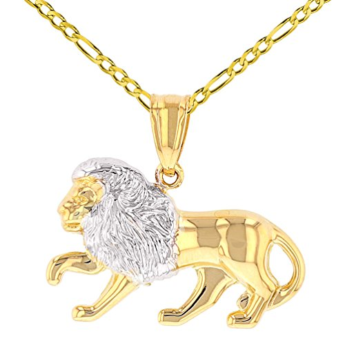 High Polish 14K Yellow Gold Lion Pendant Leo Zodiac Sign Charm with Figaro Chain Necklace, 16