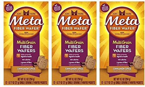 Meta Multi-grain Fiber Wafers by Meta, Cinnamon Spice 24 Count (Pack of 3) by Metamucil