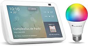 Nuevo Echo Show 8 (2da Gen) - Blanco, con Lloyds Foco inteligente WiFi