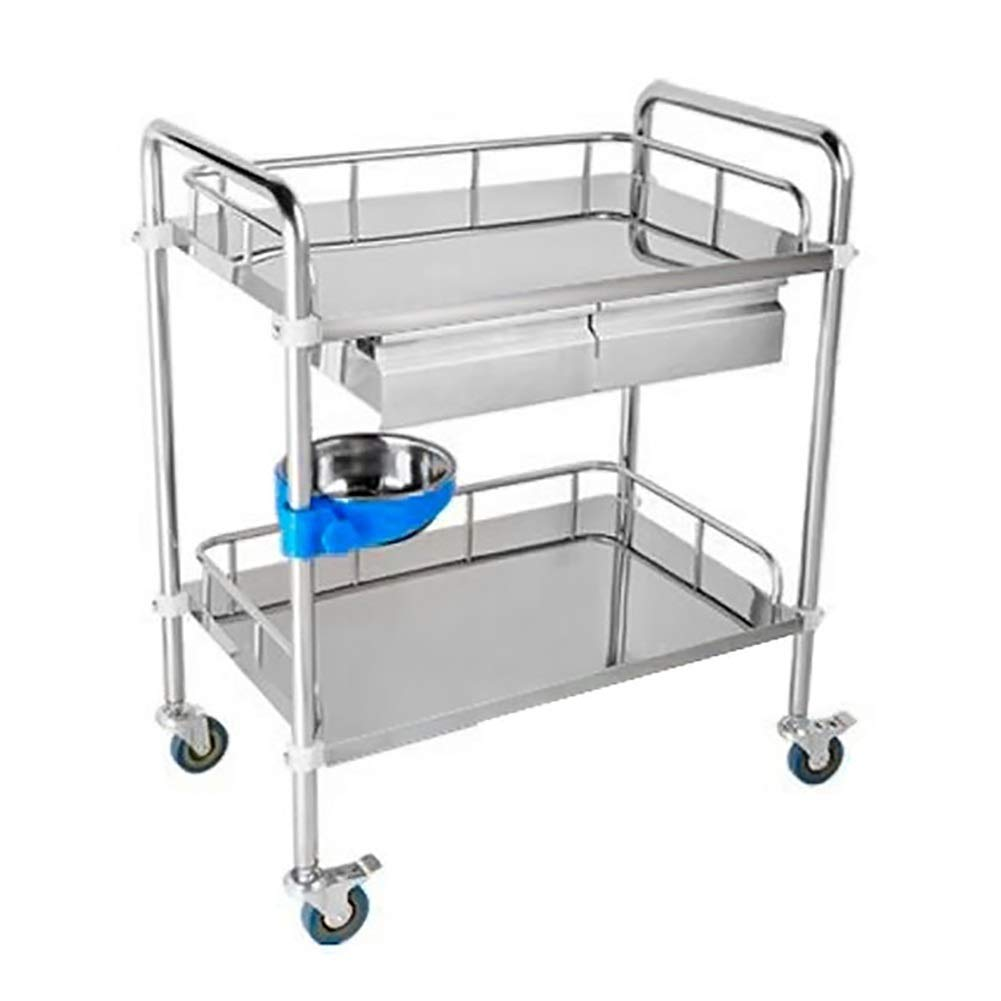 2 Layers Beauty Salon Treatment Vehicles Tool Carts, Stainless Steel Medical Equipment Trolley, 80×48×86cm (Color : Double Drawers)