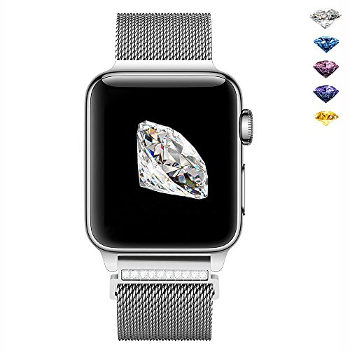 GEOTEL Bling Bands for Apple Watch Band 38mm Women,Stainless Steel Mesh Milanese Loop with Gorgeous Rhinestone Adjustable Magnetic Closure Replacement iWatch Band for Apple Watch Series 3 2 1