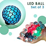 Set of 3 Led Anti Stress Ball - Squishy Light up Ball - Anti Stress Toys for Kids - Mesh Stress Ball - Grape Ball - DNA Ball - Prime Slime Stress Ball - ADHD Fidget Toys - Net Stress Squishy Ball