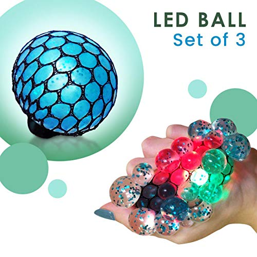 Set of 3 Led Anti Stress Ball - Squishy Light up Ball - Anti Stress Toys for Kids - Mesh Stress Ball - Grape Ball - DNA Ball - Prime Slime Stress Ball - ADHD Fidget Toys - Net Stress Squishy Ball by MorganProducts