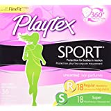 Playtex Sport Unscented Tampons with FlexFit Protection, Multipack of Regular & Super Absorbency, Pack of 36 Tampons