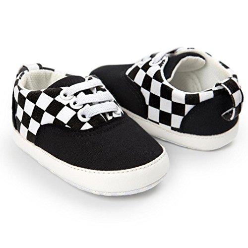 Clode® Baby Jungen Frenulum Segeltuch Schuhe Turnschuh Anti Rutsch Schuhe Schwarz