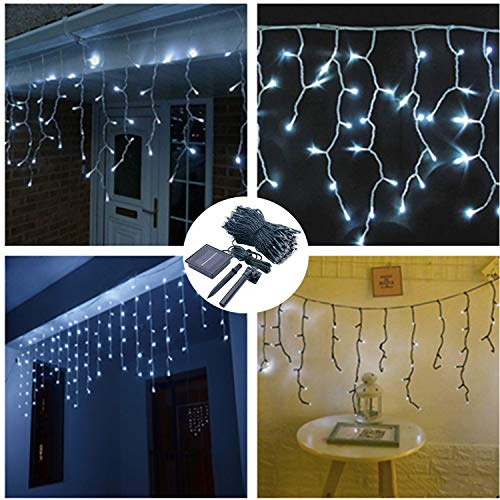 19.7ft 300 LED Icicle Lights Curtains Lightning,Solar Powered Twinkle String Lights for Backdrop Windows Shop House Halloween Pavilion Lawn Garden Decoration-8 Mode,Dark Green,Waterproof-White -