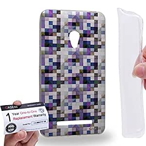Case88 [Asus Zenfone 5] Gel TPU Carcasa/Funda & Tarjeta de garantía - Art Design Purple Blue And Black Puzzle Geometric Art1566
