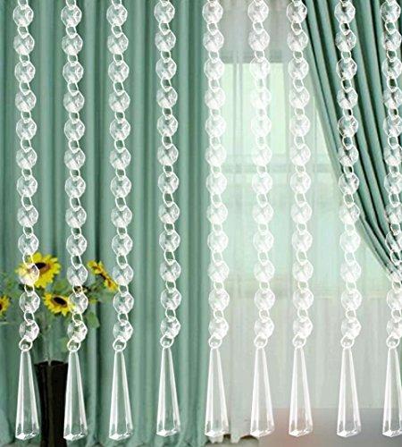 10pc DIY Clear Diamond Curtain, Clearance Acrylic Crystal Beaded Beautiful Elegance Window Curtain Room Divider, Home Decor Summer Living Room Bedroom (10pc Clear 10.5cm Length) ()