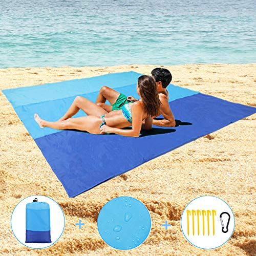 Sand Free Beach Blanket, Large Size 82 X79 Sand Proof Outdoor Picnic Blanket, Waterproof Quick Drying Beach Picnic Mat, Durable with 6 Stakes & 4 Corner Pockets,Storage Bag