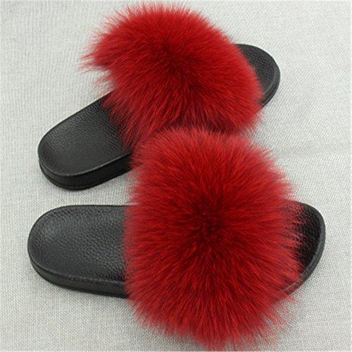 Vegan Women Strap Feather Wine Multicolor Red Slip Sandals Open Fox Leather Real On Fur Single Toe xrzHT1x
