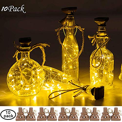 Aurora of love 10 Pack Solar Powered Wine Bottle Lights with Cork, 20 LED Unique Square Bottle Cork Fairy String Lights, Solar Lights for DIY Christmas Halloween Wedding Party Decoration(Warm White) ...]()