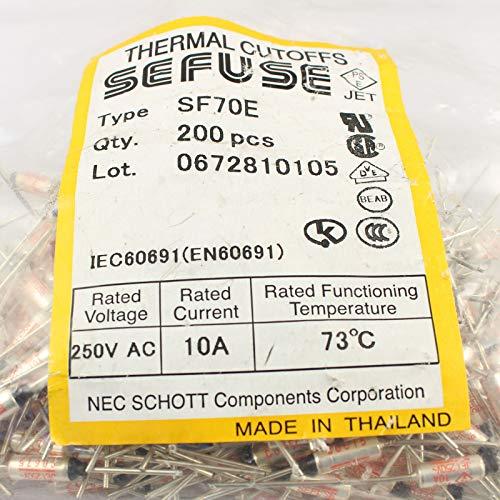 5 PCS SF70E SEFUSE Cutoffs NEC Thermal Fuse 73°C 73 Degree 10A 250V new