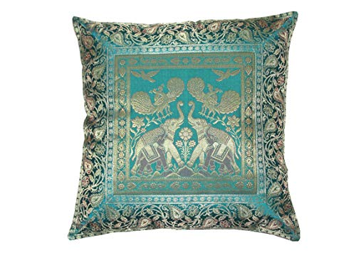 Real online seller Indian Ethnic Hand Embroidery Elephant Print Decorative Silk Cushion Cover, Handmade Banarsi Indian Pillow Cover, Handmade Pillow Cover 16 X 16 Inch (Silk) ()