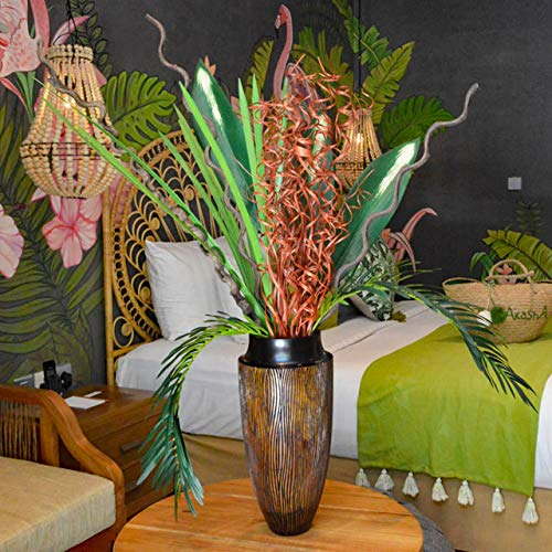 造花 インテリア おしゃれ フラワーベース 花瓶 花器 バリ アジアン 雑貨 豪華6点 セット A B07QYG4GL7