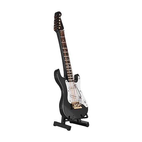 Muslady Mini Guitarra Eléctrica Modelo Exquisito Escritorio Musical Instrumento Decoración Adornos Regalo Musical con Caja Delicada