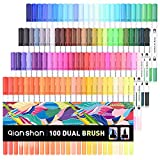 100 Colors Dual Brush Pen Colored Art Markers - Sketch Drawing Painting Designer Artist Pens Set with 0.4mm Fine Point Fineliner Fiber Tip – Dual Tips Marker Perfect for Adults Coloring Book