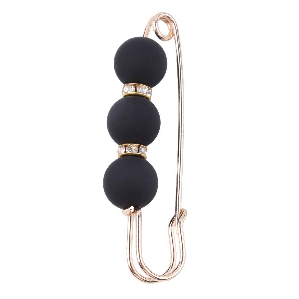 Dolland Rhinestones Ceramic Beads Big Clip Sewing Pins Needle Shawl Brooch Shawl Buckles for Women Girl,Black