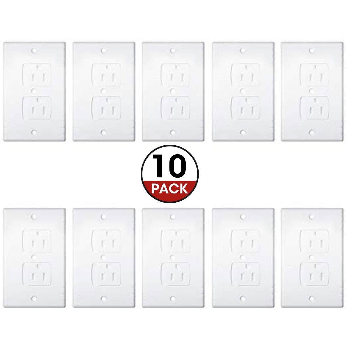 GOCHANGE Universal Self-Closing Electrical Outlet Covers, Child Safety Socket Protector, Hardware Included (10 Pack)