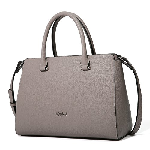 Kadell Women's Vintage Soft Leather Handbag Tote Satchel Shoulder Bag Top Handle Purse Dark Grey