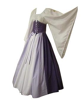 Guiran Vestido de Traje Medieval Renacentista para Mujer Vestidos Largo Púrpura S